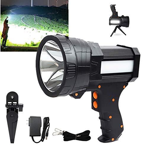 Rechargeable Spotlight Flashlights High Lumens, 10000 Lumens LED Spotlight Flood Camping Flashlight, Long Lasting Battery & Foldable Tripod & Power Bank, Handheld Spotlight for Hunting, Fishing