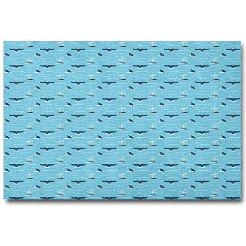 Whale Study Wall Decoration No Frame Pattern with Whale Fins Over The Water Producing Stream While Swimming Funny Teal Pale Blue White L20 x H40 Inch