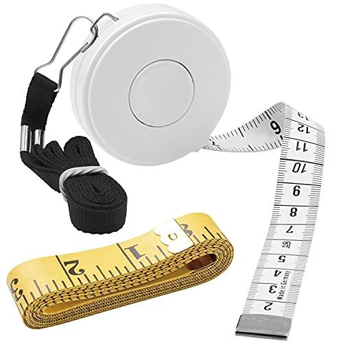 2pcs 巻尺 テープメジャー 周囲測定 縫製テーラー定規 洋裁 300cm/120in & 150cm/60inch 両面用 巻き尺 自動巻取り式 メジャー 裁縫用 手芸用 採寸用 オートメジャー (白(1.5m & 3m))