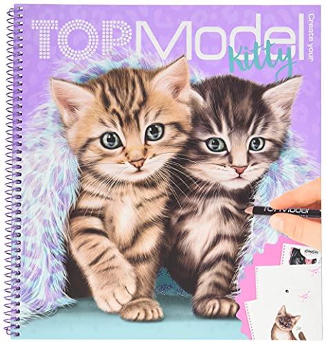Depesche 11133 TOPModel - Malbuch Create your Kitty, Mal- und Stickerbuch mit 92 Seiten voller süßer Katzen-Motive zum Ausmalen, inkl. zahlreicher Sticker, ca. 22 x 20 x 1,5 cm