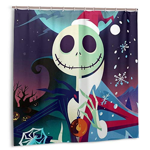 KASETER Nightmare Before Christmas Art Shower Curtain Waterproof Bath Curtain Bathroom Decor Curtains with Hooks 72 x 72 Inches