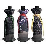 Chats 3PCS Sacs de couverture de bouteille de vin avec cordons pour dîner Dégustation de vin Table de fête Champagne