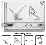 BATHWA A3 Tablero de dibujo, 50.5 x 37cm Multifunción College School Métrico A3 Tablero de dibujo Set Mesa de dibujo con movimiento paralelo y ángulo ajustable