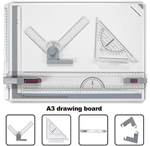 Bathwa A3 - Tablero de dibujo multifunción de plástico, 49 x 35,5 cm, con movimiento paralelo, ángulo ajustable, sistema de medición métrico para trabajos profesionales