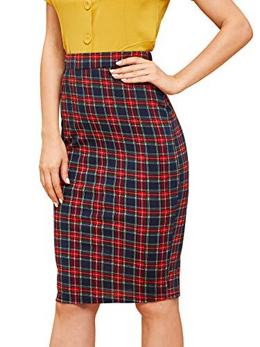 Floerns Women's High Waist Knee Length Bodycon Pencil Skirt Red M