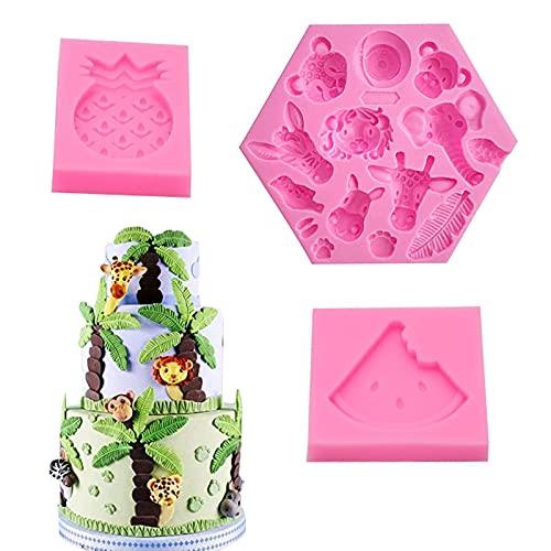 Stampo Silicone Serie di animali della foresta, Strumenti di Cottura per Decorazioni per Torte Fai da Te Fondente, per Natale Torta per Feste di Compleanno, cioccolato, caramelle