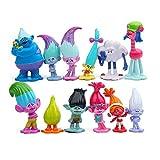 Figuras de troll de 3 a 7 cm, figuras de la pelcula Muecas Poppy Branch Biggie Pvc Trolls Figuras de accin Juguetes 12 piezas/b