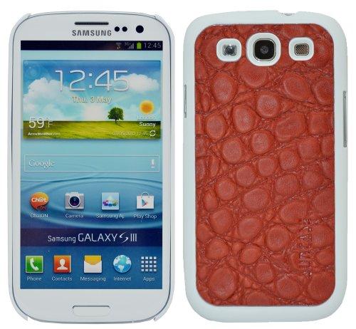 Suncase Funda de Cuero para el Samsung Galaxy S3 i9300 con Protector de Pantalla con Relieve-Rojo