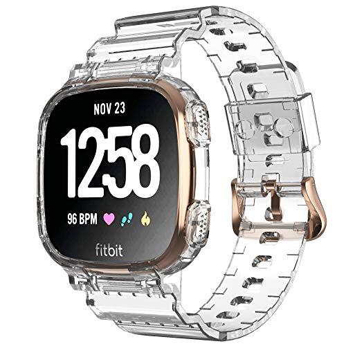 NotoCity TPU Ersatzarmband für Versa 3 Armband/Sense Armband Damen Herren, Armband & Gehäuse Integrierter Kreativer Sport Gurt (Klar)