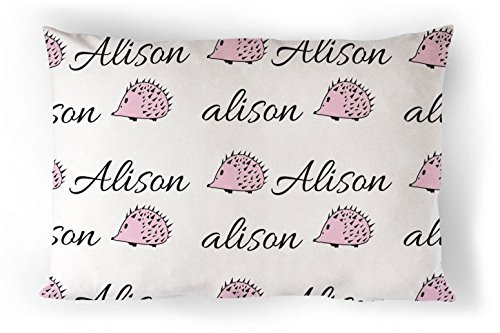 Personalized Kids Cotton Pillowcase In Pink Hedgehogs Print