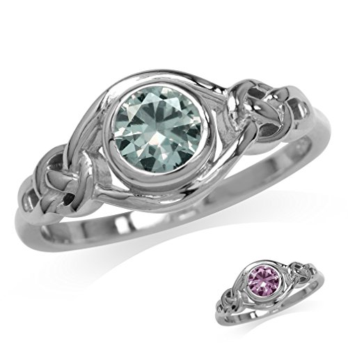 Silvershake Simulated Color Change Alexandrite White Gold Plated 925 Sterling Silver Celtic Knot Ring Size 11
