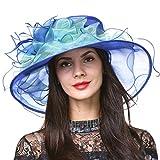 Sombrero para mujer Derby Iglesia de ala ancha, diseño de hojas