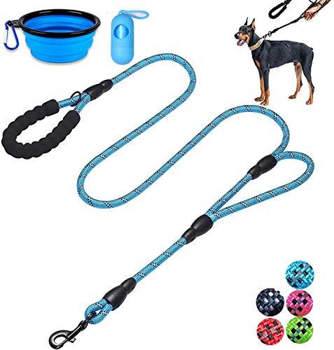 Moonpet Hundeleine – 1,8 m strapazierfähige Doppel-Griff reflektierende Hundeleine mit bequem gepolstertem Seil für mittelgroße und große Hunde, blau