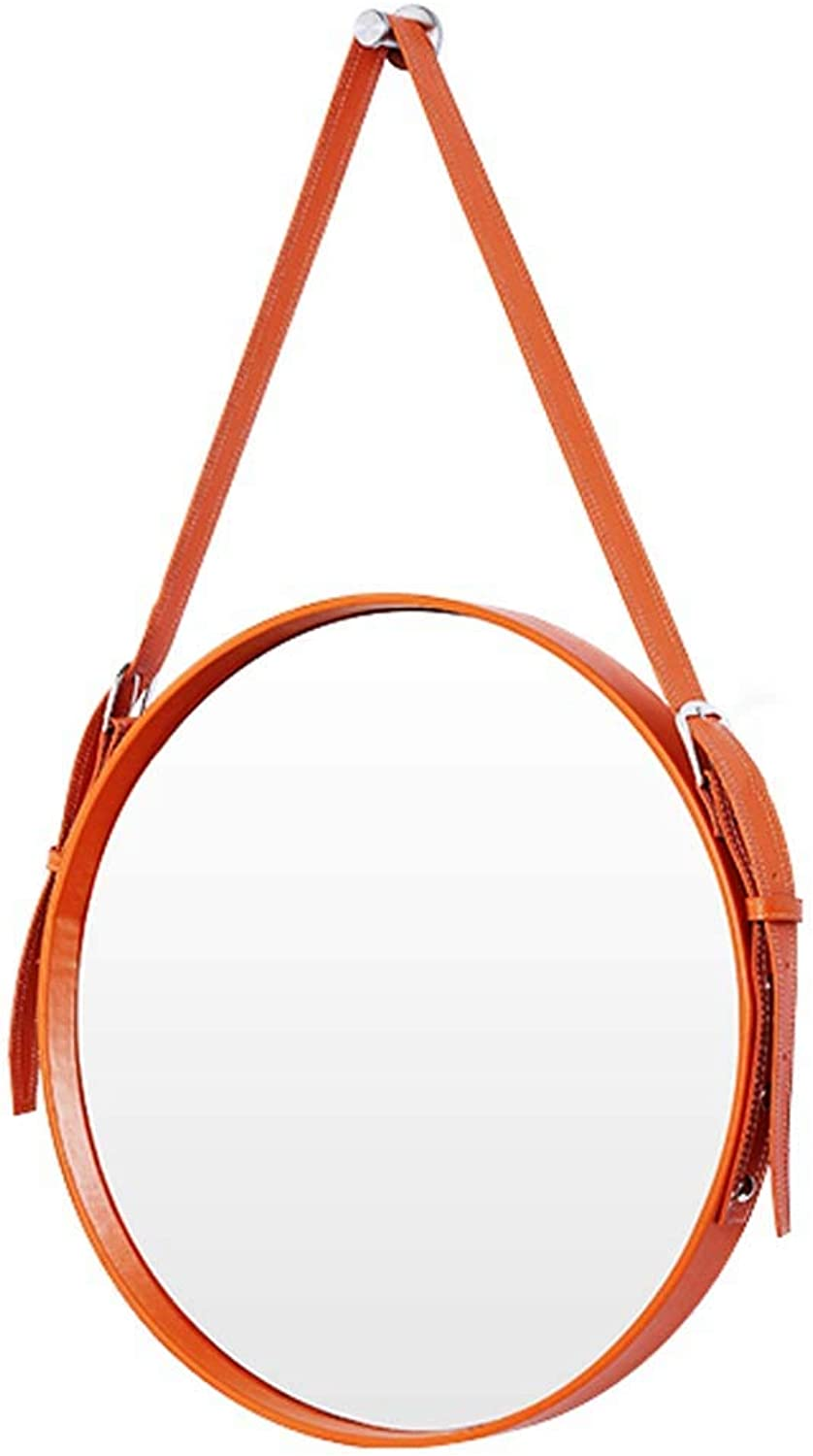 Makeup Mirrors Leather Round Wall Mirror Decorative Mirror with Hanging Strap Silver Hardware Hook(orange Yellow,Diameter 20-28Inch)