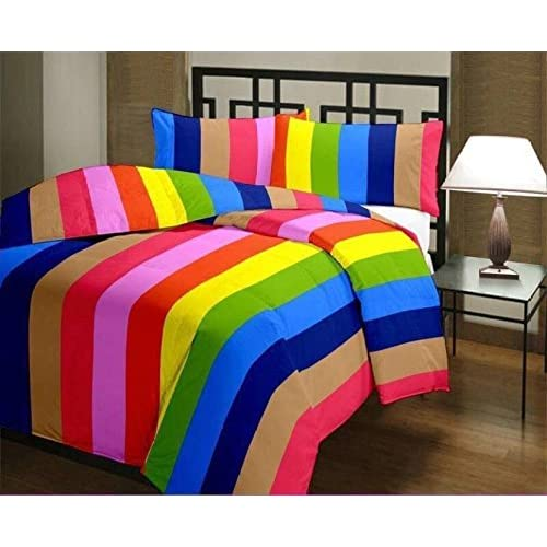 JaipurCrafts 220 TC Striped Rainbow Colorful Reversible Poly Cotton AC Comfort/Blanket/Quilt (Single Bed)