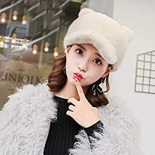 Female Korean Version of Casual Duck Tongue Hat Full of Suede Cat Ears Cute Casual Suede Hat Gray