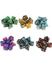 Moncolis 6 x 7 (42 stuks) polyedrische dobbelstenen set met zakken dubbele kleuren polyedrische speelkubus voor Dunons en Dragons DND RPG MTG W20 W12 W10 W8 W6 W4 tafelkaartspellen