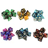 Moncolis 6 x 7 (42 Stück) Polyedrische Würfel Set mit Taschen Doppel-Farben Polyedrischer...