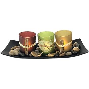Juego de 3 Candelabros Decorativos de Candelita con Rocas y Bandeja, Decoración de Mesa de Café, Eventos de Bodas y Fiestas, Centros de Mesa para Comedor Decoración de Mesa Decoración para el