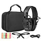 ZOHAN EM054 Electronic Shooting ear and eye protection Set, Glasses, Protective Case, Noise Reduction Sound Amplification Safety Earmuffs for Gun Range-Black