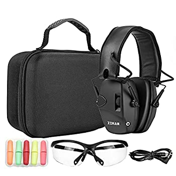 ZOHAN EM054 Electronic Shooting ear and eye protection Set Glasses Protective Case Noise Reduction Sound Amplification Safety Earmuffs for Gun Range-Black