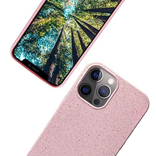 eplanita Eco iPhone 12 y 12 Pro funda para teléfono móvil, fibra vegetal biodegradable y TPU suave, protección contra caídas, respetuoso con el medio ambiente cero residuos (iPhone 12/12 Pro, rosa)