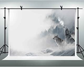 FHZON 7x5ft White Wolf Photography Backdrop Forest Diffuse Fog Snow Ground Background YouTube Backdrops Wallpaper Photo Booth Studio Props XCFH154