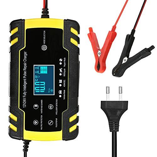 KKmoon Cargador Bateria 12V 8A  24V 4A Mantenimiento Automático Inteligente con Múltiples Protecciones para Coche Moto ATV RV Barco SUV