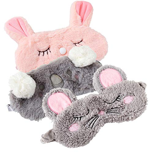 Shinywear 3 Pieces Cute Animal Eye Mask Plush Sleep Masks for Women Girls Kids Fuzzy Sleeping Traveling Patch Blinder Funny Vogue Party Costume Facial Mask - Rabbit,Koala,Mouse