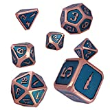 Schleuder Juego de Dados de Metal Dice Set, D&D Poliédricos Dados de rol para RPG DND Matemáticas Juegos de rol Dragones y Mazmorras Juego de Mesa (Copper - Light Blue)