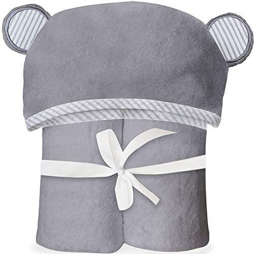 Ultra Soft Bamboo Hooded Baby Towel - Hooded Bath Towels with Ears for Babies, Toddlers - Large Baby Towel - Cute for Boys and Girls - Gray by San Francisco Baby
