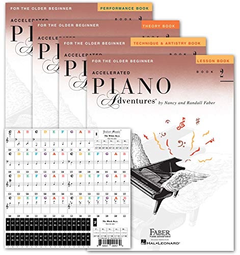 Accelerated Piano Adventures Level 2 Learning Set By Nancy Faber - Lesson, Theory, Performance, Technique & Artistry Books & Juliet Music Piano Keys 88/61/54/49 Full Set Removable Sticker