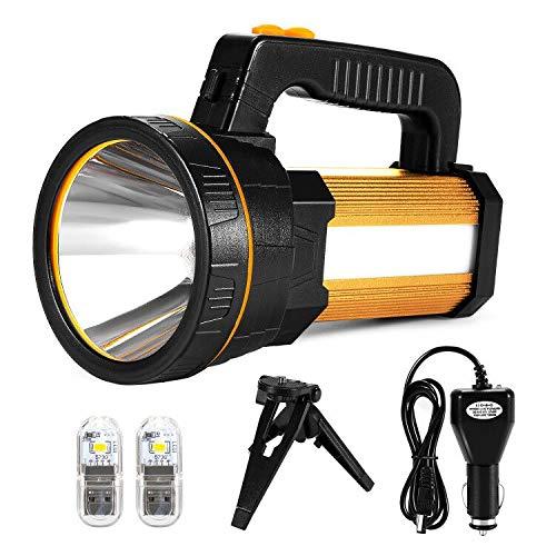 LED Handscheinwerfer Wiederaufladbar, Super Hell 7000 Lumen Led Taschenlampe, 6 Modi Wasserdicht Led-taschenlampen für Outdoor, Abenteuer, Wandern, Notfall, mit Akku(Golden)