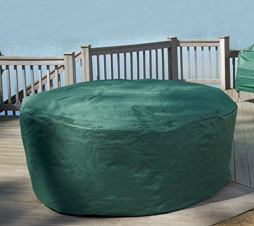 garden mile Durable Waterproof Green Garden Large 4-6 Seat Round Patio Furniture Set UV Protection Cover 166cm x 86cm
