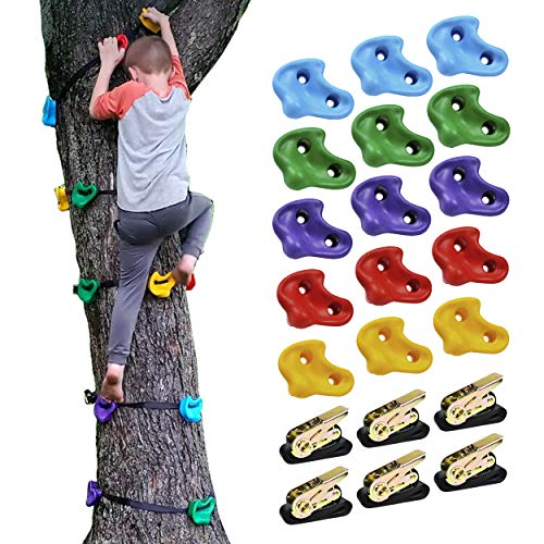 CHAIRLIN Baumklettergriffe Kinderklettersteine Baum Klettergriffe Set mit 6 Ratschengurte Ideal zum Klettern auf Rahmen Kletterhilfen für Kinder(15pcs)