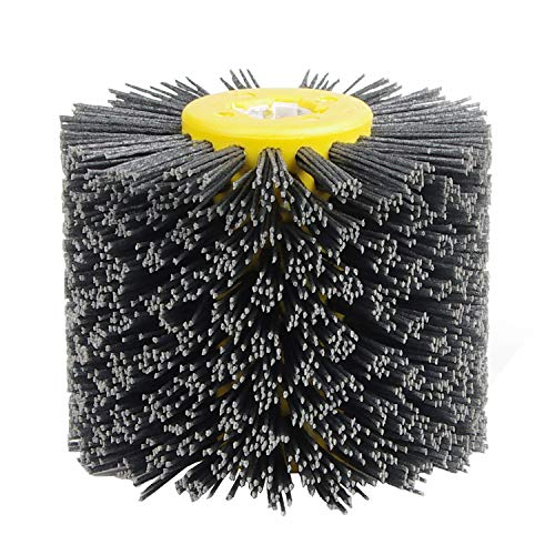 EXLECO Nylonbürste #120 Körnung Drahtziehrad Pinsel Polierbürste für Satiniermaschine Schwarz Schleifbürste Borstenbürste Grit Bürste