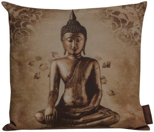 "Magma "" Buddha"" Kissenhülle Bezug ca. 40x40 cm Digitaldruck 100% Baumwolle in der Farbe braun"