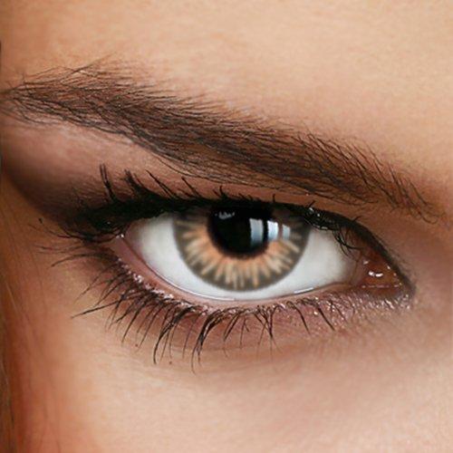 Braune Jahres-Kontaktlinsen Rainbow HONEY - MIT und OHNE Stärke in BEIGE - von LUXDELUX® - ohne Stärke (+/- 0.00 DPT)