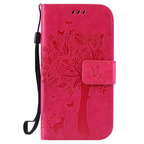 Qiaogle Telefono Case - Custodia in Pelle PU Basamento Custodia Protettiva Cover per Samsung Galaxy S3 / S3 Neo i9300 (4.8 Pollici) - KT09 / Rose Fortunato Albero dei Desideri + Cute Cat