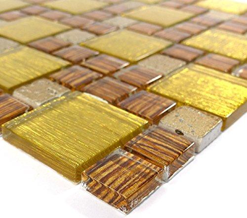 Piastrelle Mosaico tessere di mosaico in vetro lucido oro beige bagno cucina 8mm nuovo # S10