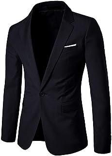 One Button Men's Solid Suit Jacket Slim Fit Casual Coat Business Tuxedo Blazer