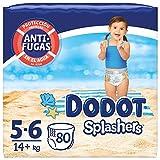 Dodot Pañales Bebé Bañador Splashers, Talla 5-6 (+14 kg), 80 Pañales Desechables con Protección Anti-Fugas en el Agua