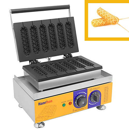 Hanchen Commercial Hot Dog Waffle Machine 6Pcs Corn Dog Waffle Maker for Restaurant Bakeries Snack Bar Home Commercial Use