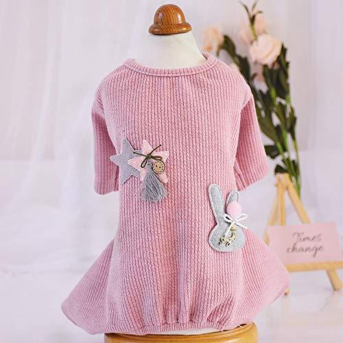 GKKXUE Dog-Pyjama Anzug Herbst und Winter Katze Baumwolle vierbeinigen Kleidung pet Einteilige Kleidung (Color : Pink, Size : S)