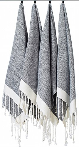 [SET OF 4] Unique Turkish Cotton Peshtemals & Towels - Size (15.8 x 33) Travel, Bath, Spa, Sauna, Beach, Gym, Pool, Beach, Yoga, Hand, Face - Super Soft Quick Dry and Highly Absorbent Towels, Black