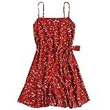 ZAFUL Women's Mini Dress Adjustable Spaghetti Straps Sleeveless Floral Frilled Boho Beach Dress Grapefruit-A L