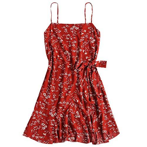ZAFUL Women s Mini Dress Adjustable Spaghetti Straps Sleeveless Floral Frilled Boho Beach Dress Grapefruit-A M