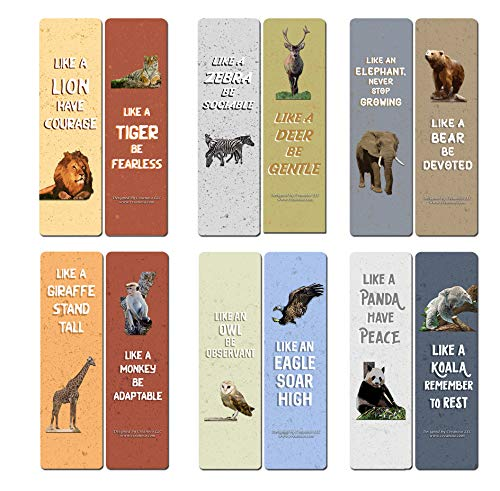 Creanoso Wild Animals Inspiring Sayings Bookmarks (60-Pack) - Assorted Gift Set Card Pack for Men, Women, Boys, and Girls- Classroom and School Reward Incentives