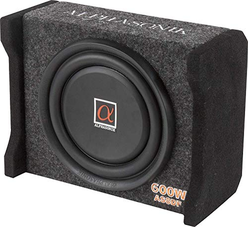 PIONEER Alphasonik AS8DF 8 inch 600 Watts 4-Ohm Down Fire Shallow Mount Flat Enclosed Sub woofer for Tight Spaces in Cars and Trucks, Slim Thin Loaded Subwoofer Air Tight Sealed Bass Enclosure