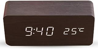Réveil numérique électronique en bois avec heure / date / température / USB alimenté par batterie Bureau étagère horloge, ...